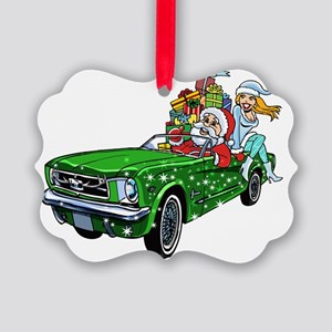 Muscle Car Santa Picture Ornament