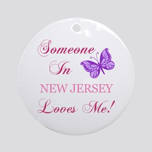 New Jersey State (Butterfly) Ornament (Round)