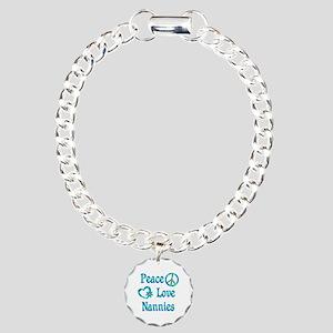Peace Love Nannies Charm Bracelet, One Charm