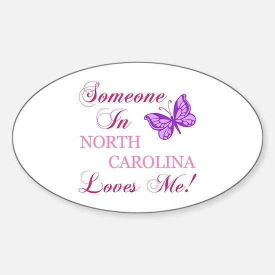 North Carolina State (Butterfly) Sticker (Oval)