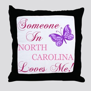 North Carolina State (Butterfly) Throw Pillow