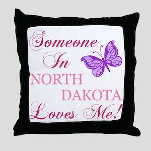 North Dakota State (Butterfly) Throw Pillow