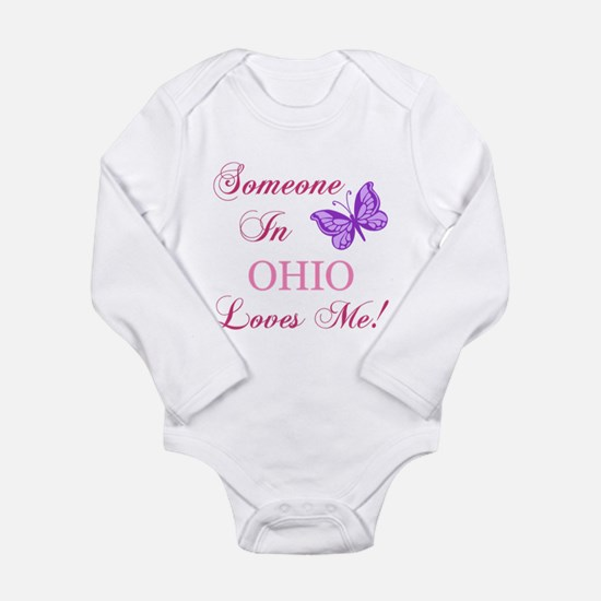 Ohio State (Butterfly) Long Sleeve Infant Bodysuit