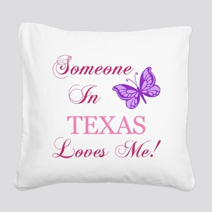 Texas State (Butterfly) Square Canvas Pillow