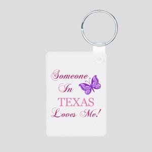 Texas State (Butterfly) Aluminum Photo Keychain