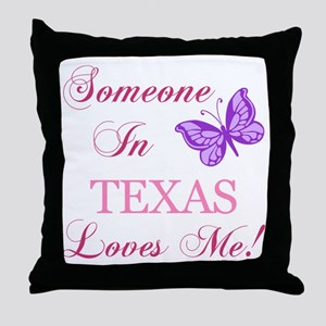 Texas State (Butterfly) Throw Pillow