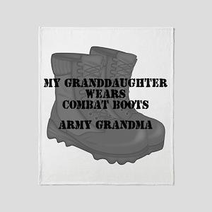 Army Grandma Granddaughter Combat Boots Throw Blan