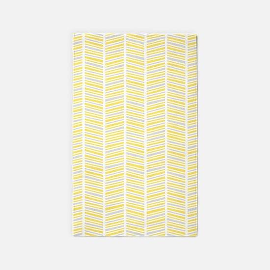Yellow and Gray Herringbone Pattern 3'x5' Area Rug