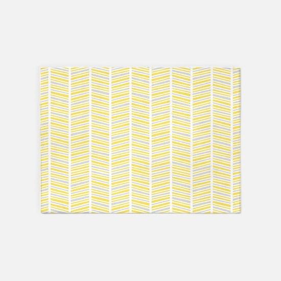 Yellow and Gray Herringbone Pattern 5'x7'Area Rug