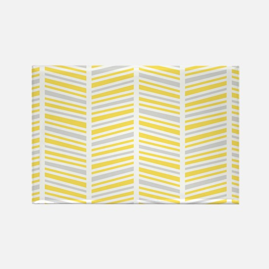 Yellow and Gray Herringbone Pattern Rectangle Magn