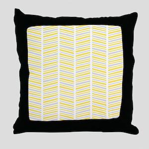 Yellow and Gray Herringbone Pattern Throw Pillow