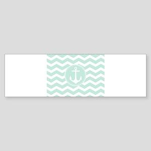 Nautical Mint Chevron Bumper Sticker
