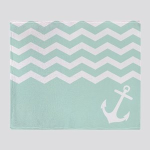 Mint Anchor under waves Throw Blanket