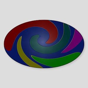 Colorful Mod Blue  Sticker (Oval)