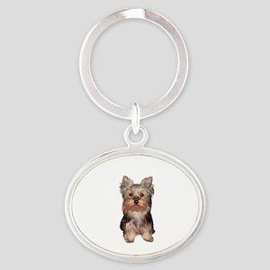 Yorkshire Terrier Puppy Oval Keychain