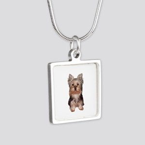 Yorkshire Terrier Puppy Silver Square Necklace