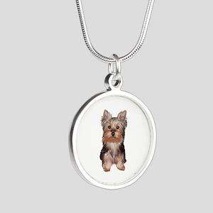 Yorkshire Terrier Puppy Silver Round Necklace