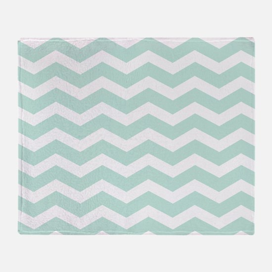 Mint Chevron Throw Blanket