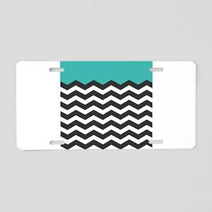 Turquoise Black and white Chevron Aluminum License