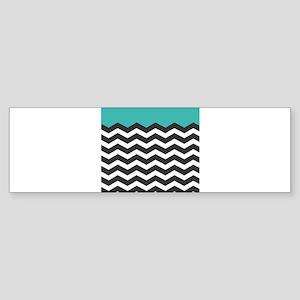 Turquoise Black and white Chevron Bumper Sticker