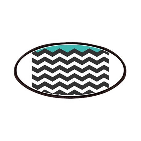 Turquoise Black and white Chevron Patches