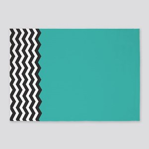 Turquoise Black and white Chevron 5'x7'Area Rug