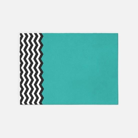 Turquoise Black and white Chevron 5'x7'Area Rug
