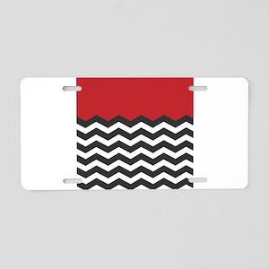 Red Black and white Chevron Aluminum License Plate