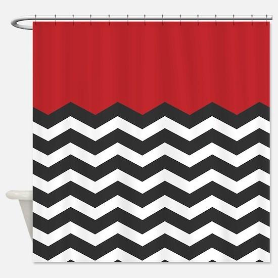 Black White Chevron Shower Curtain. Red Black and white Chevron Shower Curtain And White Curtains  CafePress