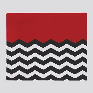 Red Black and white Chevron Throw Blanket
