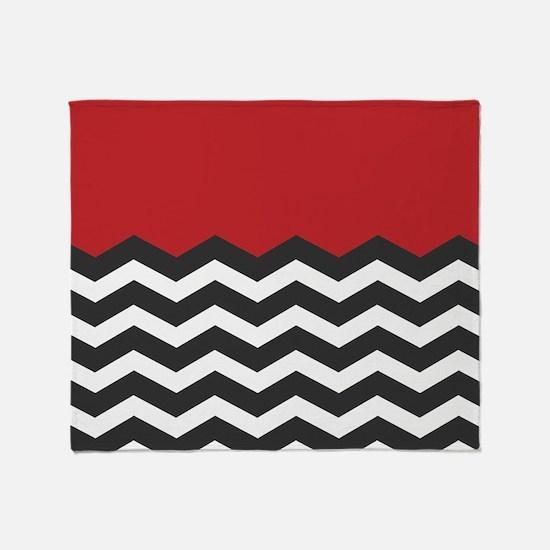 Red Black and white Chevron Throw Blanket