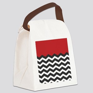 Red Black and white Chevron Canvas Lunch Bag