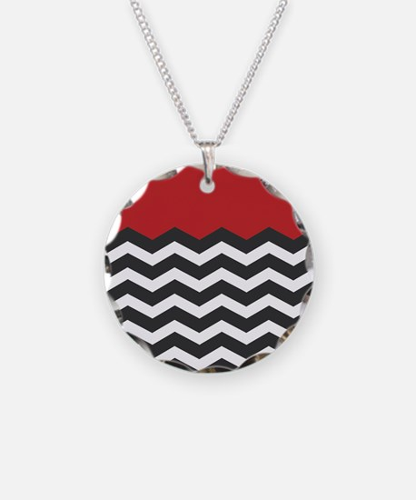Red Black and white Chevron Necklace