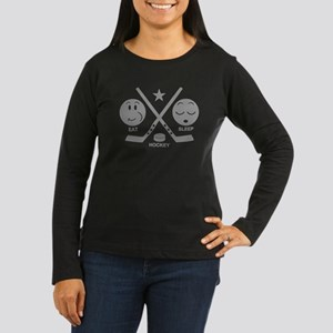 Eat Sleep Hockey Women's Long Sleeve Dark T-Shirt