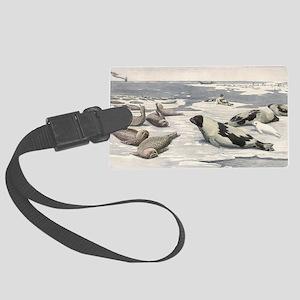 Vintage Marine Life, Seals Large Luggage Tag