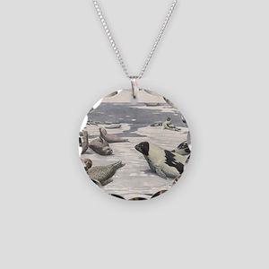 Vintage Marine Life, Seals Necklace Circle Charm