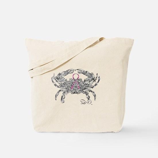 Cancer Ribbon Crab Tote Bag