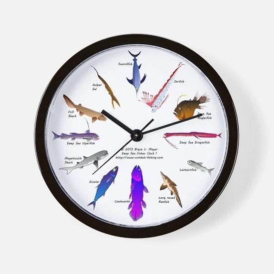 12 Deep Sea Fishes Clock 1 Wall Clock