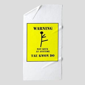 Taekwondo Warning Beach Towel