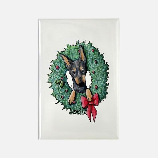 Dobie Christmas Wreath Rectangle Magnet