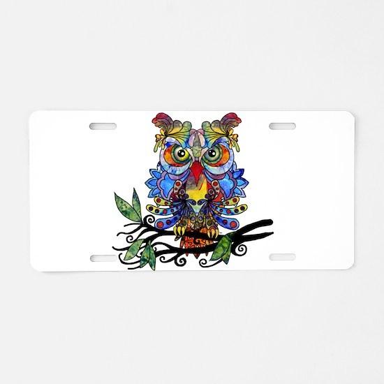 wild owl Aluminum License Plate