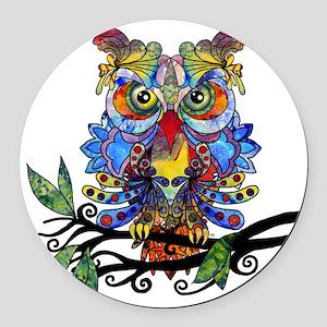 wild owl Round Car Magnet