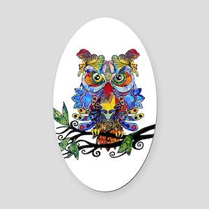 wild owl Oval Car Magnet