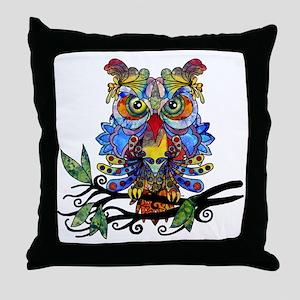 wild owl Throw Pillow