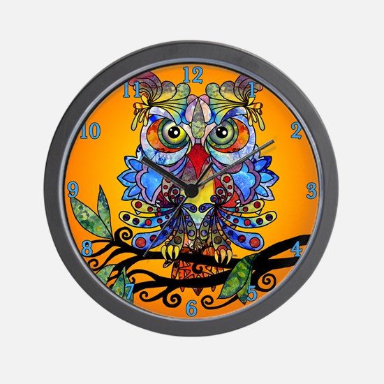 wild owl Wall Clock