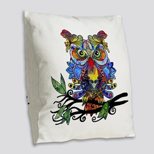 wild owl Burlap Throw Pillow