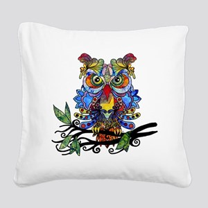 wild owl Square Canvas Pillow