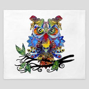 wild owl King Duvet