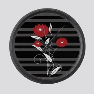 Modern red Black and gray floral Large Wall Clock