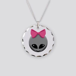 Pink Bowed Alien Grey Necklace
